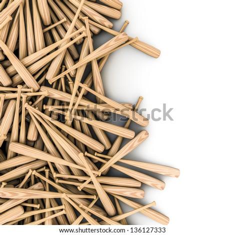 Baseball bats spill - stock photo