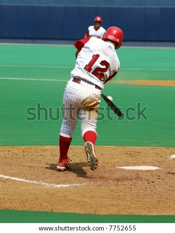 baseball Batter hitting the ball, right-handed - stock photo