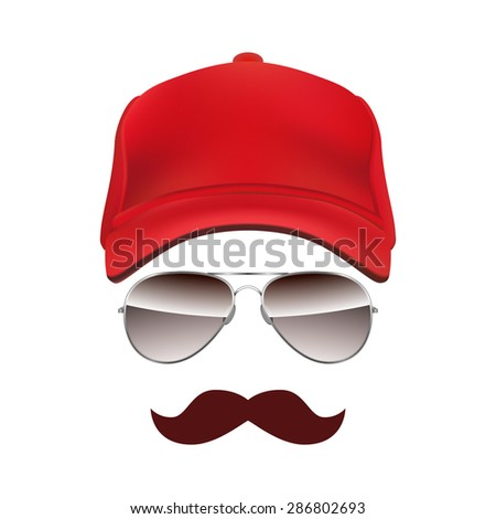 Baseball cap Glasses and Mustache isolated on white background  - stock photo