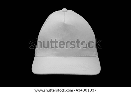 Baseball cap isolated on black background. Mock up With white blank free space for branding design. - stock photo