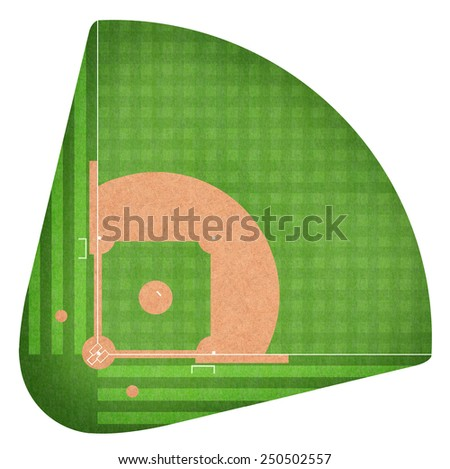 Baseball field Diamond base on green grass Baseline for a baseball sport game isolated on white background - stock photo