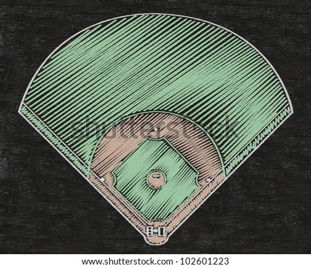 baseball field written on blackboard background, high resolution, easy to use - stock photo