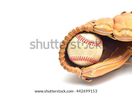 Baseball glove and ball isolated on white - stock photo