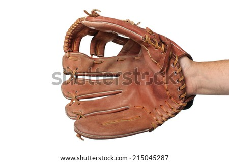 Baseball glove on a white background - stock photo
