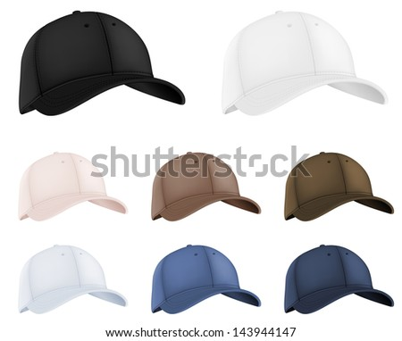 Baseball hats template set. - stock photo
