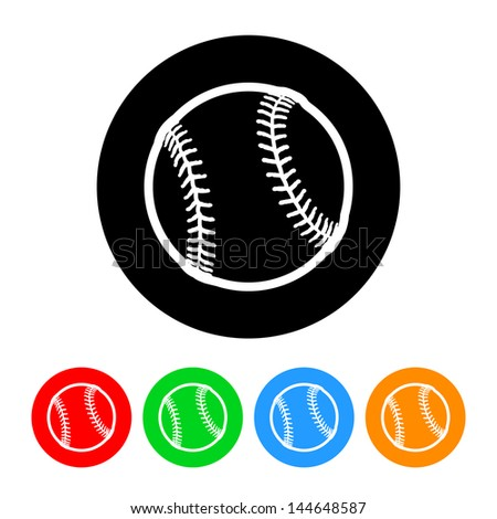 Baseball Icon with Color Variations.  Raster version, vector also available. - stock photo