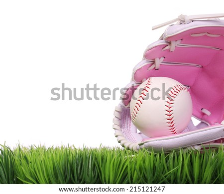 Baseball in Pink Female Glove on Green Grass, isolated on white.  - stock photo