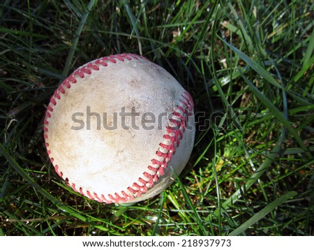 Baseball in the grass - stock photo