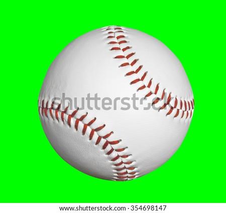 Baseball isolated with chroma key green background. - stock photo