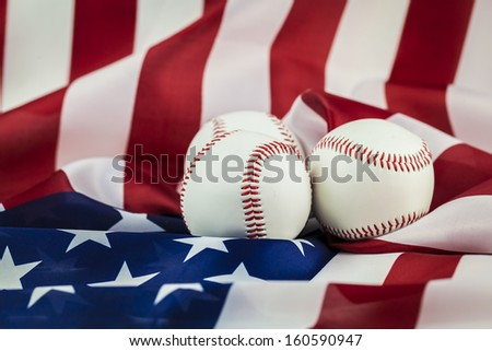 Baseball on American Flag - stock photo