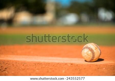 Baseball on Pitchers Mound - stock photo