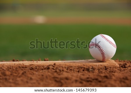 Baseball on the Pitchers Mound - stock photo
