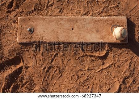 Baseball on the Pitchers Mound of Field - stock photo