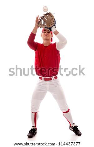 Baseball player fielding. Studio shot over white. - stock photo