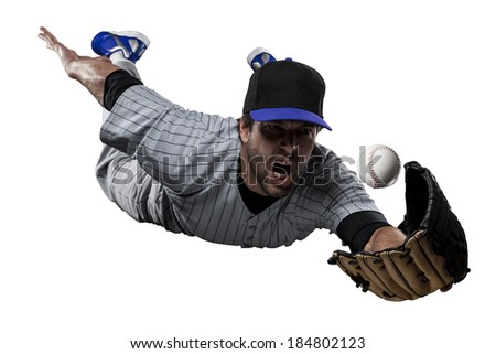 Baseball Player in a blue uniform, on a white background. - stock photo