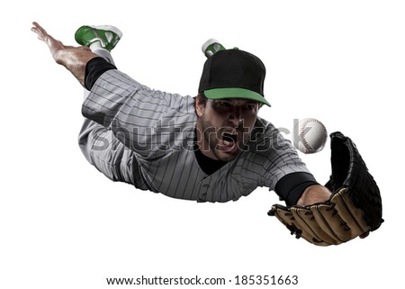 Baseball Player in a Green uniform, on a white background. - stock photo