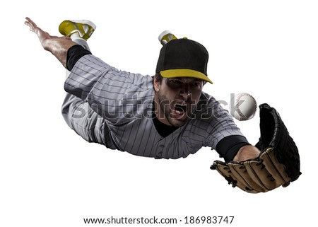 Baseball Player in a Yellow uniform, on a white background. - stock photo