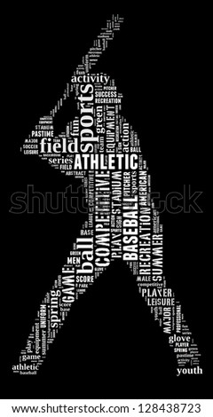 Baseball player info-text graphic and arrangement concept on black background (word cloud) - stock photo