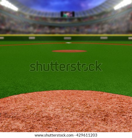 Baseball stadium full of fans in the stands with copy space. Deliberate focus on foreground infield dirt clay with shallow depth of field on background. Floodlights flare for effect and copy space. - stock photo