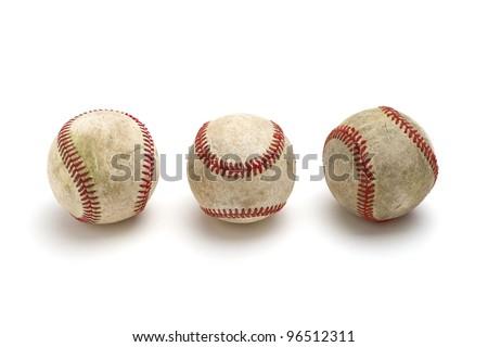 Baseballs, isolated on white - stock photo