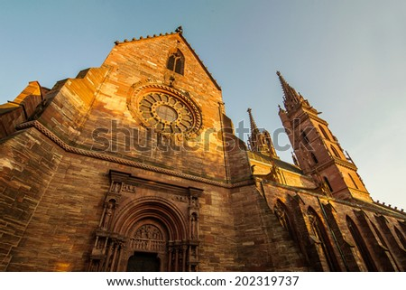 Basel cathedral in shade of evening sun of switzerland - stock photo