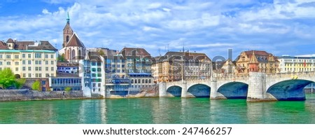 basel old town  - illustration based on own photo image - stock photo