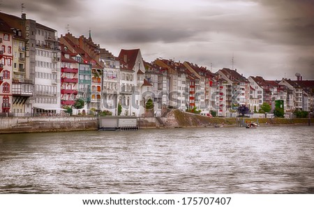 Basel panorama by river - stock photo
