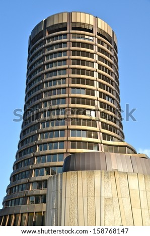 BASEL, SWITZERLAND - JUN 17: Bank for International Settlements (BIS) on June 17, 2013 in Basel, Switzerland. BIS is an international organization of central banks which fosters financial cooperation. - stock photo
