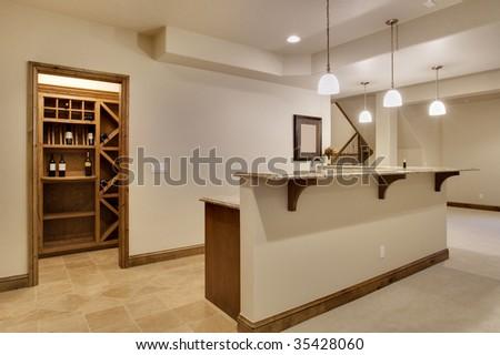 Basement bar area - stock photo