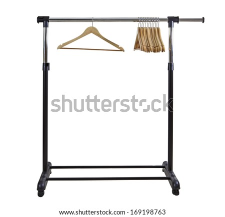 Basic adjustable garment clothing rack with hangers - stock photo