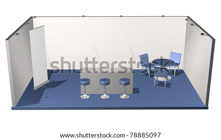 Basic blank fair stand with chairs, table, roll-up, add your own design - stock photo