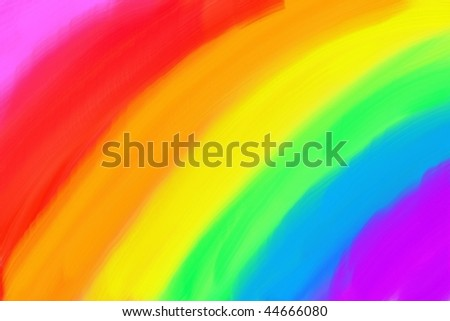 Basic child's drawing of colorful rainbow. Crayon or oil paint realistic illustration. - stock photo