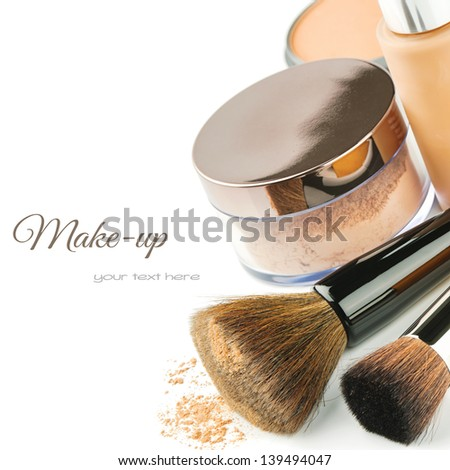 Basic make-up products. Foundation and powder - stock photo