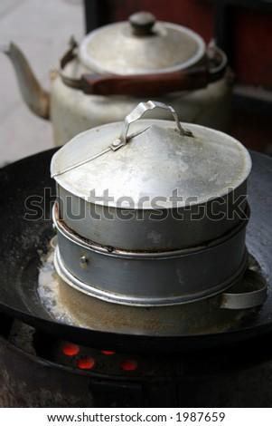 Basic Steam Cooker, China - stock photo