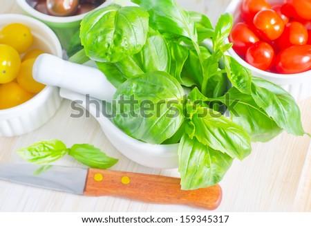 basil and tomato - stock photo