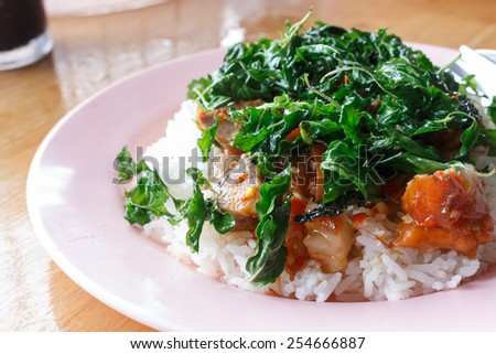 Basil Fried Rice with Leg Pork, Thai food - stock photo