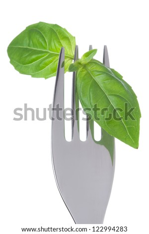 basil herb leaves on a fork against white background - stock photo