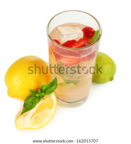 Basil lemonade with strawberry in glass, isolated on white - stock photo