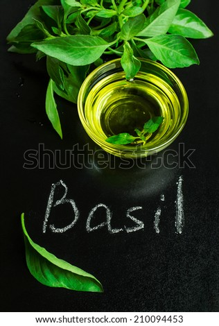 basil with olive oil on a blackboard with chalk inscription - stock photo