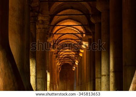 Basilica Cistern in Istanbul, Turkey - stock photo