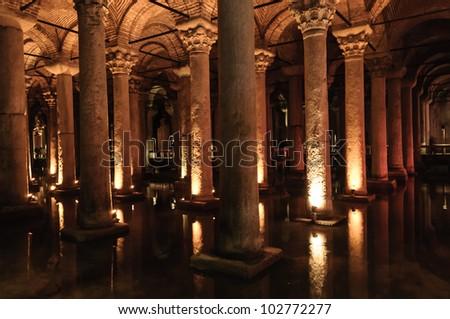 Basilica cistern - Istanbul, Turkey - stock photo