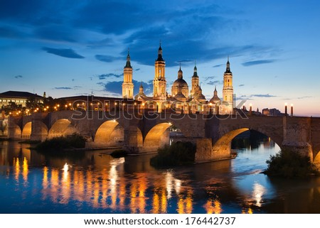 Basilica Del Pilar in Zaragoza in night illumination, Spain - stock photo