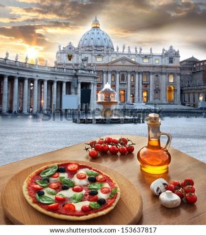 Basilica di San Pietro with Italian pizza, Vatican, Rome, Italy - stock photo