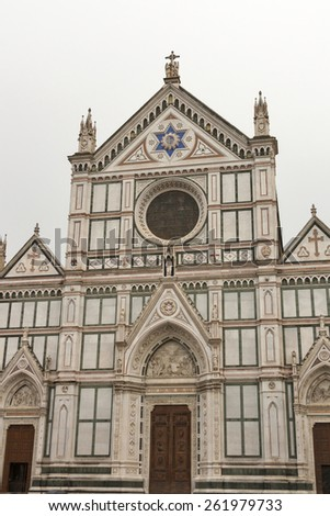 Basilica di Santa Croce facade or Basilica of the Holy Cross, famous Franciscan church in Florence, Italy - stock photo
