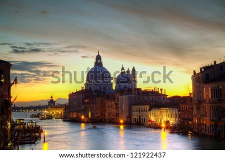 Basilica Di Santa Maria della Salute at sunrise - stock photo