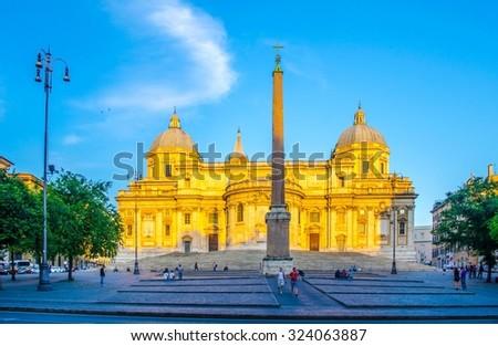 Basilica di Santa Maria Maggiore, Cappella Paolina, view from direction of piazza Esquilino in Rome. Italy. - stock photo