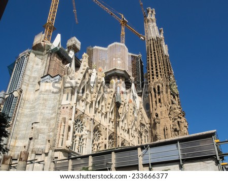 Basilica i Temple Expiatori de la Sagrada Fami�­lia is a large Roman Catholic church in Barcelona, Spain, designed by Catalan architect Antoni Gaudi - stock photo
