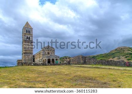 Basilica of Holy Trinity of Saccargia (12th century), Codrongianos, Sardinia, Italy - stock photo
