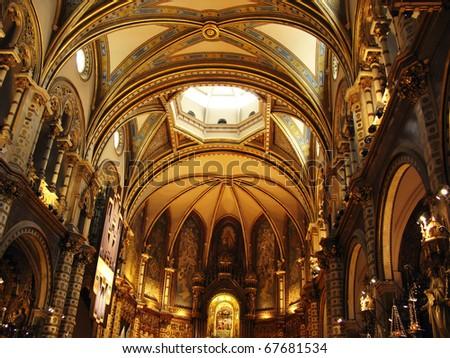 Basilica of Montserrat (Catalonia, Spain) - stock photo