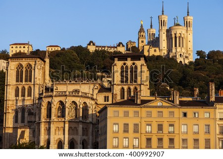 Basilica of Notre-Dame de Fourviere and Lyon Cathedral in the morning. Lyon, Rhone-Alpes, France. - stock photo
